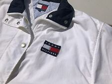 Vintage 90's Tommy Hilfiger NYC Sailing Gear USA FLAG Jacket Coat White L  EX+