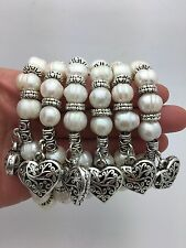 """7"""" Stretch Fresh Water White Pearl Bracelet with Heart charm"""