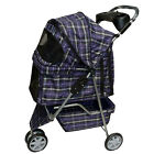 New BestPet Large Blue Plaid 3 Wheels Pet Dog Cat Stroller Cage Free RainCover