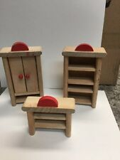3 Piece Dollhouse Furniture Plan Toys Compatible Wooden (1B)