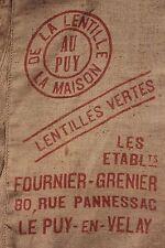 Vintage French Jute Hessian BURLAP sack puy  Lentil bag red printing red