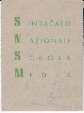 TESSERA SINDACATO NAZIONALE SCUOLA MEDIA 1954 SEZIONE DI LECCO COMO  1-203