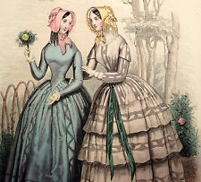 LE FOLLET 1845 Hand-Colored Fashion Plate #1267 Toilettes de Ville PRINT