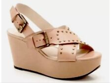 New��Clarks��UK 9 Trophy Crown Blush Pink Beige Nude Leather Wedge Sandals 43EU
