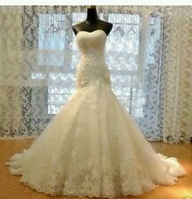 New White/Ivory Lace mermaid wedding dress Bridal Gown Size 4-18 UK