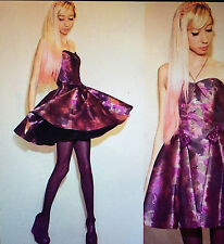 NWT Sz 2 Betsey Johnson Dress Mulberry Taffeta/ Pink Sequin Bows Prom