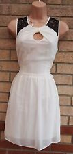 PRIMARK WHITE CHIFFON LACE BLACK INSERTED SKATER CUT OUT FRONT A LINE DRESS 10 S