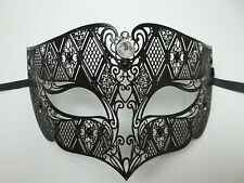 Male Diamond Crystal Black Laser Cut Venetian Masquerade Metal Filigree Mask Men