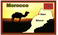 MOROCCO, MAP & FLAG - SOUVENIR NOVELTY FRIDGE MAGNET - NEW - GIFT