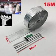 15m High Heat Insulation Fiberglass Wrap Exhaust Header Pipe Tape Cloth Silver