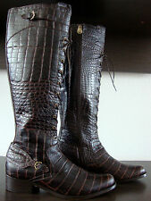 HUNTER BEAUFORT CROCO Chocolate Knee High Boots Damen Leder Stiefel Gr.40 NEU