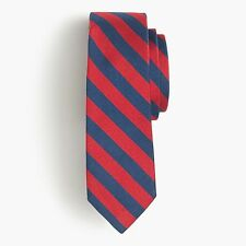 J.Crew English Silk Repp Tie in Navy & Red Stripe 2016 Fall Collection $60 NWT