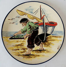 """vintage original signed fisherman figural collector plate painting 9 1/2"""""""