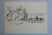 Landschaft mit Pferden und Personen, Federzeichnung, 1920er Jahre - Anton Kist