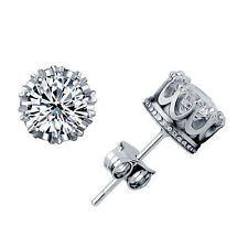 Classical Silver Cute Clear CZ Crystal Stud Crown Earrings Brilliant Cut Jewelry