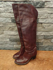 Frye Jane Boots Riding Over The Knee Cuffed 77935 Rich Brown Leather Women's 7.5