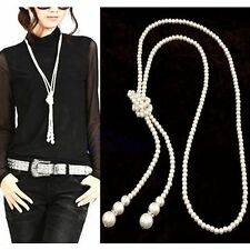 Women White Artificial Pearls Long Sweater Chain Charms Knot Necklace