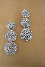 NWT Dramatic Crystal Circle Drop Pierced Chandelier Earrings 333