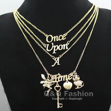 Gold Once Upon A Time Words Style Owl Key Heart Fairy Multi Layer Chain Necklace