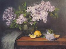 VINTAGE ORIGINAL FLOWERS LILAC IN GLASS  OIL PAINTING STILL LIFE CONTEMPORARY