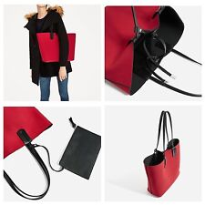 ZARA RED MINI CITY BAG WITH SPLIT SUEDE FLAP SHOPPER TOTE OVERSIZED VALENTINES