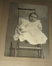 ANTIQUE PHOTO MATTED pretty BABY primitive VICTORIAN PRAM CARRIAGE Iowa CLINTON