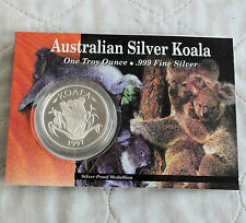 AUSTRALIA 1997 KOALA 1oz .999 FINE SILVER PROOF MEDAL - downie's pack