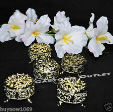 12 PC GOLD ROUND PLASTIC TRINKET BOX WEDDING FAVORS TABLE DECORATIONS FILLABLE