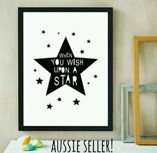 Wish Upon A Star canvas A4 painting print art poster nursery kids baby home room