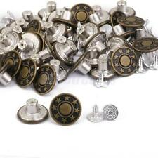 50 NO-SEW METAL JEANS BUTTONS RIVET HAMMER ON TROUSERS DIY REPAIR 17MM STUD