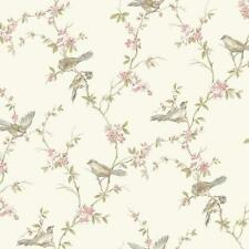 Wallpaper Traditional Vine with Cute Birds on Off White Background