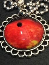 "Celestial Moon Red Mercury Charm Tibetan Silver with 18"" Necklace C32"