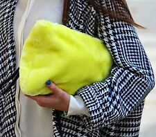 ZARA Woman Authentic BNWT Yellow Clutch Fur Bag Wallet With Black Strap 8584304