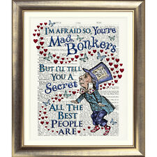 ART PRINT ORIGINAL ANTIQUE BOOK PAGE Dictionary Alice in Wonderland BONKERS old
