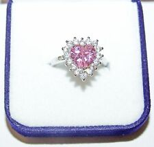 Sailor Moon Engagement Ring Size 7 - Heart Shaped Pink Rhinestone - Silverplated