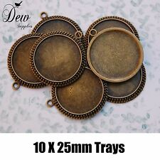 10x Round pendant tray 25mm bronze vintage antique style bezel jewellery