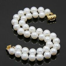real gift 2 rows AA 7-8mm white Natural Fresh water pearl bracelet