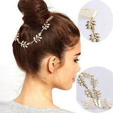 H15 Forever 21 Hair Wedding Bridal Accessories Gold Leaf Chain Hair Comb US