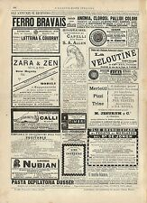 Stampa antica pubblicità FERRO BRAVAIS LA VELOUTINE ecc. 1887 Old antique print