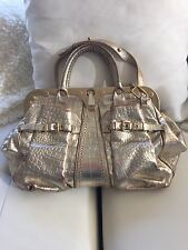 VERSACE RUNWAY BAG . GOLD LEATHER embossed crocodile effect .