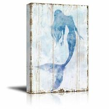 "Canvas Wall Art - Mermaid Picture on Vintage Background Rustic Artwork-32"" x 48"""
