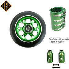 stunt scooter set 2 Green drill wheels 100mm abec 11 bearing quad clamp peg axle