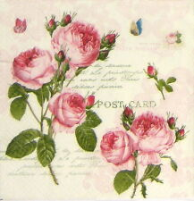 4x Single Table Party Paper Napkins for Decoupage Craft Vintage Romantic Roses