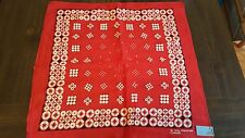 Vintage 70's Red All Cotton Bandana COLORFAST NEW MADE USA
