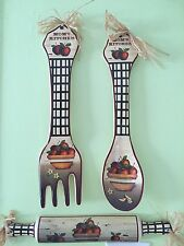 3-PC. Apple Country Utensil Wall Decor Fork Spoon Rolling Pin Kitchen Wall Decor