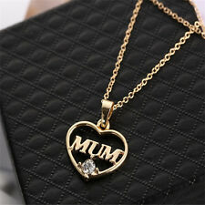 Compact Mum Heart Charm Crystal Gold Plated Pendent Necklace Gift For Mother FT