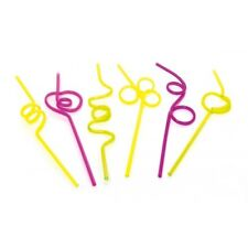 Straws  Twisting Curly Plastic Assorted colours pack of 8