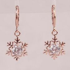 Vogue Women 14K Rose Gold Filled Round Cut Clear Zircon Snowflake Earrings D411