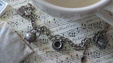 Tea Time Charm Bracelet Kettle Pot Cup Spoon Pewter 7""