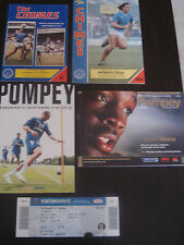 Portsmouth v Chelsea x4 1987/8, '88/89, '07/08, 2011/12 Pre-season Prog & Ticket